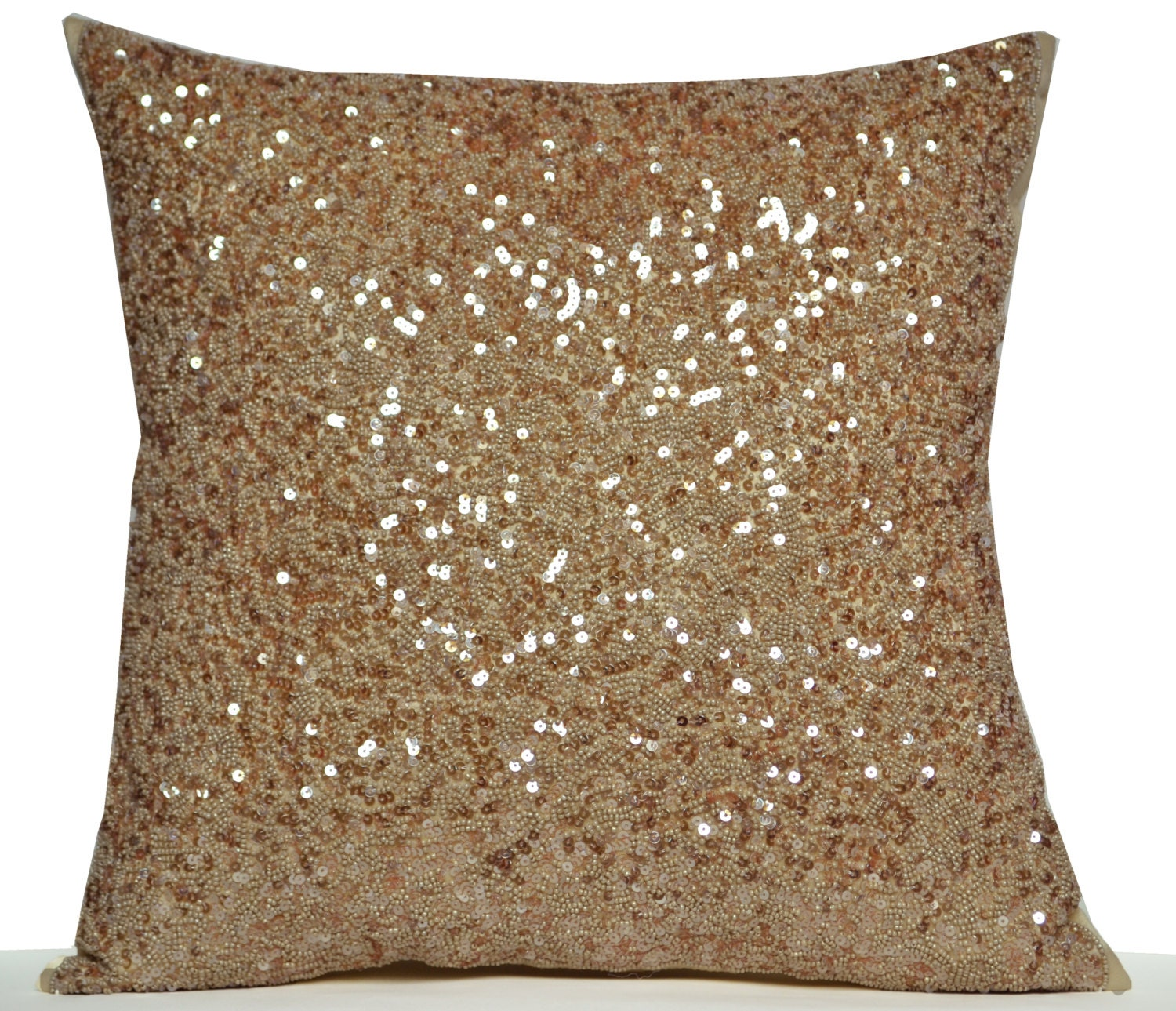Designer Throw Pillow Cover Beige Silk Luxury Confetti