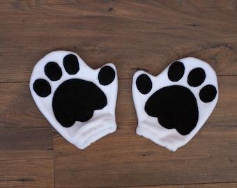 Polar Bear Gloves, Children's or Adult's Photo Prop, Pretend Play, White Bear Gloves