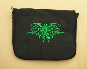 Cthulhu H.P. Lovecraft Embroidered Messenger Bag (Home Embroidered)