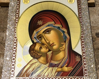 Virgin Mary - Orthodox Byzantine icon on wood - Gilded Silver Plated Icon on wood (30 cm x 22.2 cm)