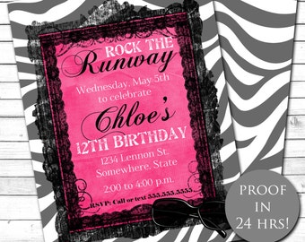 Fashion Show Birthday Party Invitation, Runway Birthday Party Invitation Zebra Print, Hot Pink, Girl's Birthday, Printable, Customized