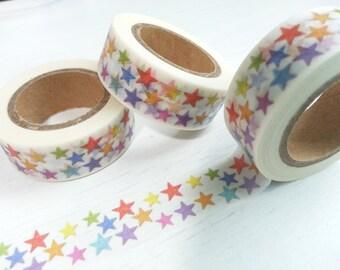 Colourful Stars  Washi / Masking Tape - 10M