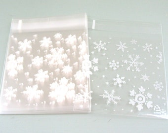 25 Snowflake Cellophane Bags Party Favor Bags Treat Bags Gift Bags Biscuit Bags