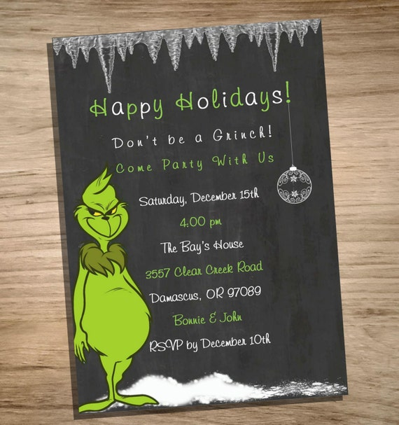 christmas party invitation the grinch