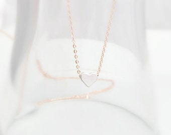 Tiny Heart Necklace, Rose Gold Necklace, Dainty Jewelry, Heart Jewelry, Layering Necklace, Bridesmaid Gifts,Mom Gift, British Seller UK, Pin