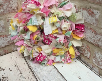 Spring wreath, rag wreath, easter wreath, colourful hanging, holiday wreath, holiday decoration, bright rag wreath, fabric wreath