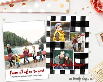 Holiday Christmas Card Template PSD photo card Buffalo Check Plaid Instant Download