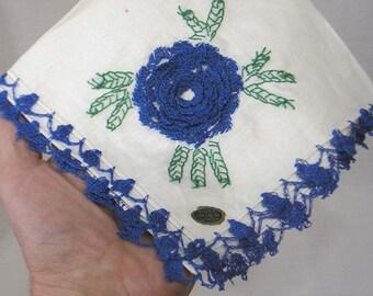 Vintage Cotton Handkerchief Hankie Crocheted Blue Edging and Flower Irish Linen