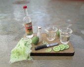 Dollhouse Miniatures - Tequila Shots Set - Teqila on Wooden Board w/ Limes, Great for a Party, Bar, Pub, Beach, Garden Scene, Fairy, Patio