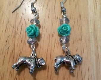2 inch bull dog earrings.  Super cute,  one of a kind.  Bulldog has lots of detail.