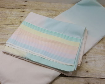 Set of Two Vintage Standard Pillowcases, rainbow, vintage bedding, vintage sheets