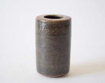 PALSHUS Denmark - cylindrical vase - dark brown green - PL-S 442 - Danish mid century pottery