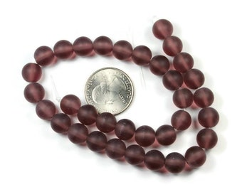 32 amethyst frosted round glass beads 10mm