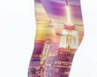 The New York Sunset Leggings Great for Yoga Hula Hoop or Dance