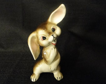 Vintage Floppy Eared Mischievous Bunny Rabbit Figurine