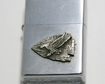 Zippo windproof lighter with vintage Native American arrowhead & eagle accent