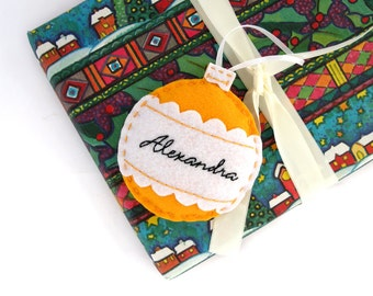 Personalized Christmas ornament, felt Christmas ornament, custom family ornament, first Christmas ornament, handmade Christmas bauble