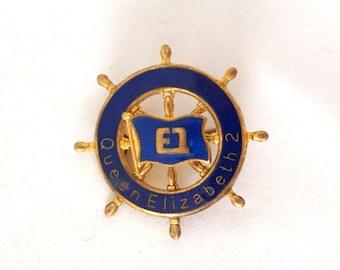 Vintage Lapel Pin Queen Elizabeth II Cunard Cruise Luxury Liner Nautical Jewelery QEII