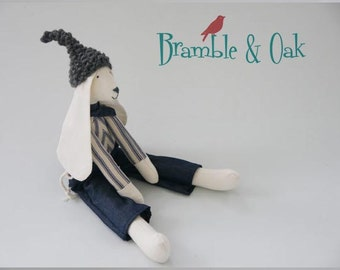 Easter Bunny Toy Fabric Rabbit Handmade Special Baby Boy Gift Animal Doll Dressed Denim Trousers, Striped  Top, Grey Hand Knitted Wool Hat