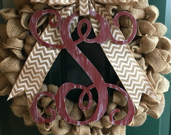 """Vine Monogram Letter - Large or Small, Unfinished, Cursive Wooden Letter - Perfect for Crafts, DIY, Weddings - Sizes 1"""" to 42"""""""
