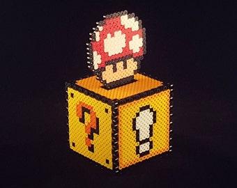 Perler Bead Coin Box (fused piggy bank) w/ red mushroom topper
