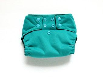 OS Pocket diaper, Teal, PUL cloth diaper cover, snap closure diaper, 10 to 30 pounds, teal diaper, green diaper