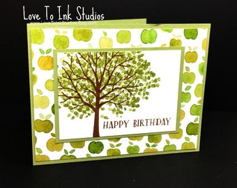 Birthday Greeting Card, Fall, Apple Printed Paper, Handstamped Tree, Gender Neutral Card