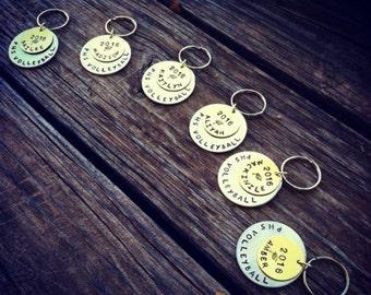 Personalzied Graduation Sports Keychains - Hand Stamped Custom Charms - (1)