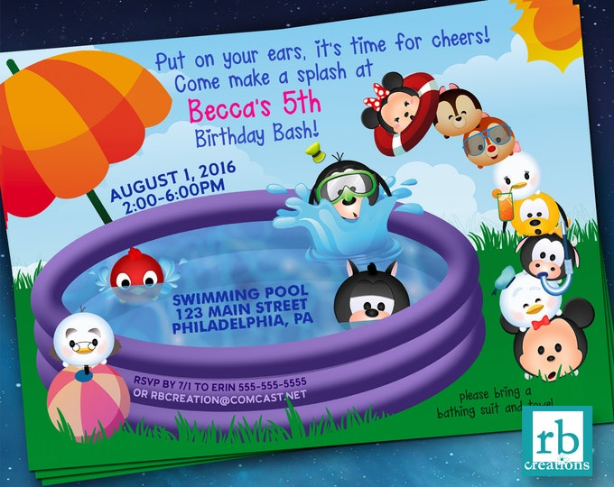 Pool Party Invitation, Mickey Mouse Clubhouse, Pool Party Birthday Invitation, Swim Birthday, Tsum Tsum Invitation - Digital Printable