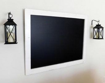 Extra Large Framed Chalkboard made from Reclaimed Wood Shown in Pure White 36 x 48 *Ready to Ship*