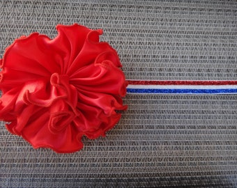 Giants, 4th of july, flower headband, newborn, infant, toddler, photo prop,  lace headband, red, white, blue, MORE ELASTIC OPTIONS!