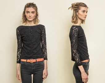 Vintage Black Lace Blouse Sheer Long Sleeve Shirt