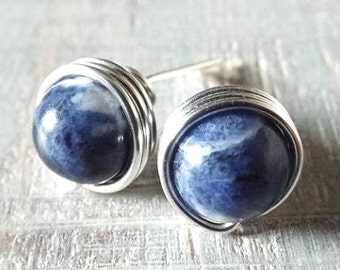 Sodalite Earrings, Blue Stud Earrings, Blue Stone Earrings, Blue and White Studs, Wire Wrap Earrings, Navy Blue Earrings, Silver Sodalite