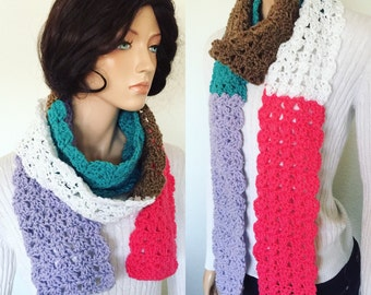 Crochet Shell Scarf/ Spring and Fall Fashion Scarf