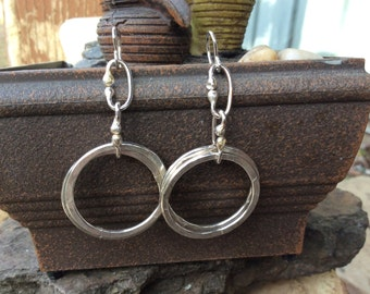 Sterling Silver Hoop Earrings Round Dangle Earrings