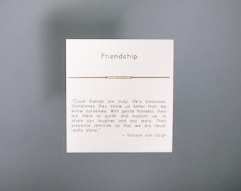 Friendship Bracelet - Friendship - Gold Friendship Bracelet on Silk - Walnut