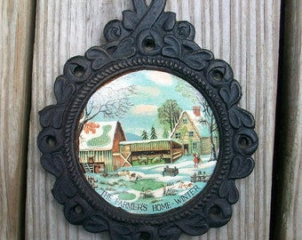 Vintage Cast Iron The Farmers Home - Winter Wall Hanging Decor