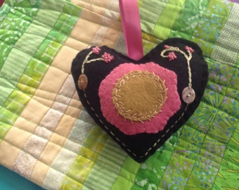 Valentine Embroidered and Appliqued Felt Heart