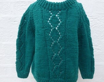Jumper green sweater handmade top vintage chunky knit jumper fall clothing girls green gift 1990s clothes kids wool chunky boys toddlers top