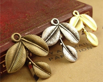 50 Leaf Branch Charms, 27x23MM Brass / Silver / Gold Tone Branch Shape Pendants A1385
