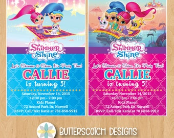 Shimmer and Shine Birthday Invitation, Pick from 2 Designs - Printable/Digital File