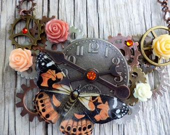 Steampunk Clock Face pendant. Cogs, gears and Nature Pendant. Steampunk Roses and Butterfly Pendant.
