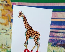 set of cards, Giraffe card, cowboy boots, zoo animals, greeting cards, cards, African wildlife, country,