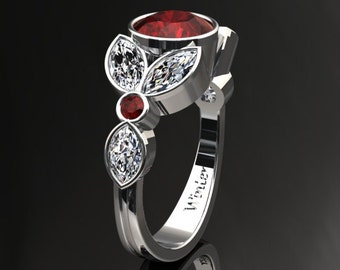 Ruby Engagement Halo Ring Ruby Ring 14k or 18k White Gold W16RUBYW