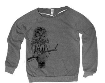 SUMMER SALE OWL Hand Screen Print Alternative Apparel Eco-Fleece Maniac Sweatshirt S,M,L,Xl 2 Colors
