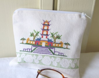 Fabric Cosmetic Bag from Green White Vintage Upcycled Linen, Zippered Pouch, Makeup or Diabetic Necessities Bag, Asian Design, Nec24
