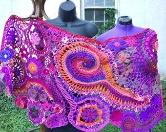 freeform crochet shawl in purple pink and pastels  / freeform wearable fiber art