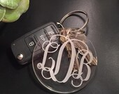 Monogram Key Chain - Engraved Acrylic Monogrammed Gifts