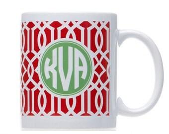 Monogram Christmas Coffee Mugs - Perfect Inexpensive Christmas Gift - Celtic Mug - Red