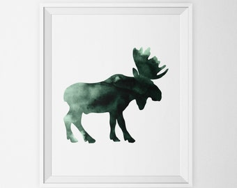 Moose Watercolor Art Print in Forest Green, Woodland Forest Animal Wall Art, Moose Silhouette Printable, Art Poster Animal Nursery Decor
